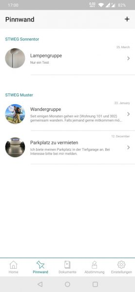 App - Pinnwand