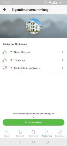 App - Abstimmung Übersicht