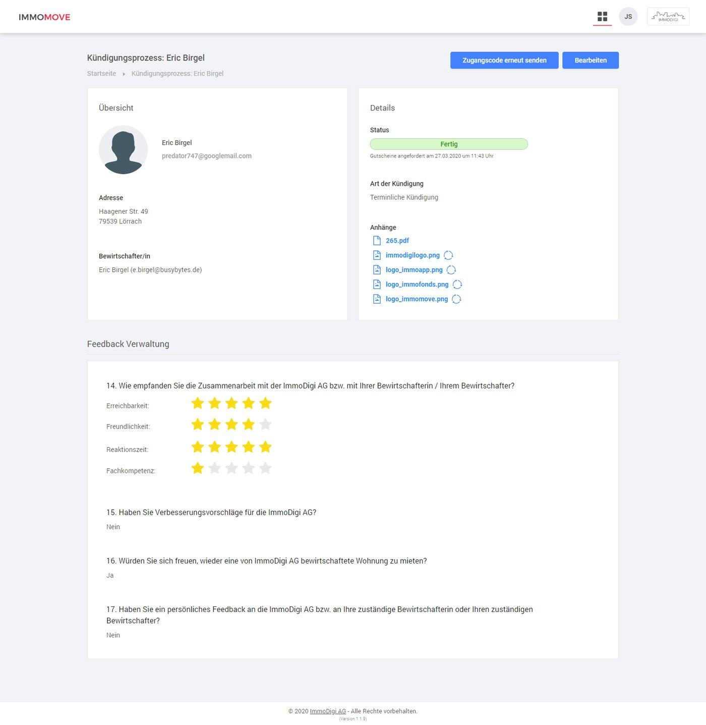 Verwaltung - Kündigung Daten